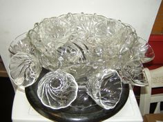 Hazel Atlas Colonial Clear Glass Swirl Punch Set with cups and base, vintage in Pottery & Glass | eBay