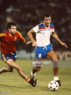 England player Trevor Francis in action during the 1982 World Cup match between Spain and England at the Bernabeu stadium on July 1982 in Madrid, Spain. Get premium, high resolution news photos at Getty Images Football Images, Football Design, Retro Football, Pure Football, Football Squads, Football Uniforms, Football Boots, Football Shirts, Soccer Stars