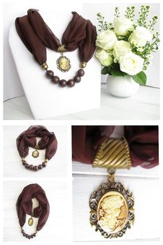 This scarf necklace with its vintage cameo brooch is the perfect scarf jewelry to compliment your outfit. This also makes a great gift for someone with an old soul. It would look great worn with a jersey during the autumn months. Scarf Necklace, Fabric Necklace, Scarf Jewelry, Old Jewelry, Fabric Jewelry, Jewelry Shop, Jewelry Necklaces, Unique Jewelry, Cameo Pendant