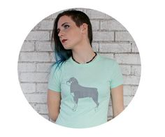 Rottweiler Tee Shirt, Hand Screenprinted Mint Green Cotton Crewneck Ladies…
