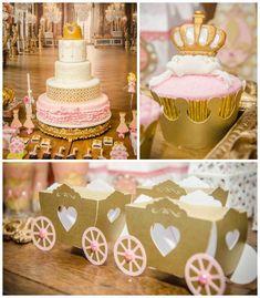 Pink + Gold Princess themed birthday party via Kara's Party Ideas KarasPartyIdeas.com Printables, cake, decor, favors, recipes, cupcakes, an...