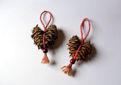 Pine Cone Christmas Heart Ornament Rustic by WestTwinCreationsLLC