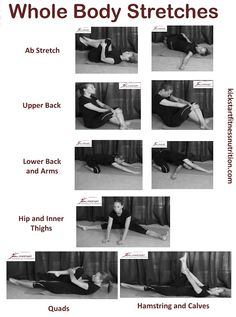 Chart on how to stretch all major muscle groups. Easily the most looked over part of your fitness routine.   Be sure to stretch out your whole body after every workout to avoid muscle soreness.