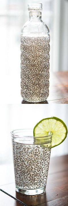 Energy Boosting Chia Fresca ~ Simply mix tbsp of chia seeds with 2 cups of water (or coconut water), half tablespoon of fresh lemon juice and a bit of honey (or maple syrup) for sweetens. Shake it and ta dah! Juice Smoothie, Smoothie Drinks, Healthy Smoothies, Healthy Drinks, Healthy Tips, Healthy Choices, Healthy Snacks, Healthy Recipes, Chia Seeds