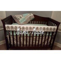Elephant Crib Bedding Set Gray Chevron by MamaMadeClothing on Etsy