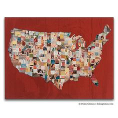 US Map Art Print on Wood, Map (Red) BOX PRINT reproduction via Etsy