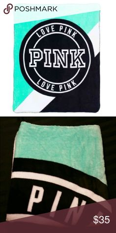 Victoria's Secret PINK Plush Throw Blanket!!! Super cute and extremely soft! Beautiful teal color! Brand New! Never used or washed. I don't have the strap that wraps around it though to keep it rolled since I ordered it online. PINK Victoria's Secret Other