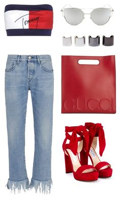"""Untitled #414"" by eaubleue on Polyvore featuring Tommy Hilfiger, 3x1, Jimmy Choo, Gucci, Chicnova Fashion and Luv Aj"
