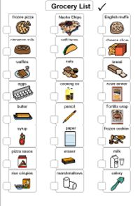 visual grocery list for non readers