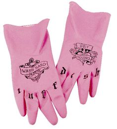 Wash hard, dry young!  Tuff Dish gloves from Fred and Friends
