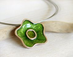 Green Flower Pendant - Resin in Stering Silver - Nature jewelry on Etsy, $99.02