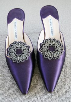 Manolo Blahnik Hangisi Eggplant Satin Pointed Toe Slipper with Jewel. Manolo Blahnik Hangisi, Purple Shoes, Purple Satin, Louboutin, Fashion Heels, Violet, Beautiful Shoes, Shoe Collection, Shoe Brands