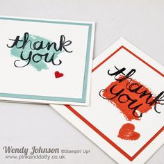 Quick and easy thank you cards made using stampin up work of art