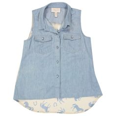 Shyanne® Girl's Denim and Sheer Print Sleeveless Shirt
