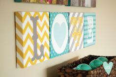 LOVE canvases by Polka Dots & Daisies-- mustard, teal, white, grey & aqua. Mixed prints. Chevron, polka dots, stripes!
