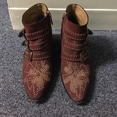 Chloe Booties Gold stud, 3 belt buckle, and zipper. Suede  red. They were worn and used, but well taken care of. Last pic shoes mark in right shoe, (not as noticeable in person; shoe market could probably clean it. Comes with dust bag, (and box if I have) Chloe Shoes Ankle Boots & Booties