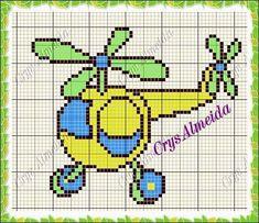 C2c, Cross Stitch Charts, Plastic Canvas, Cross Stitching, Little Boys, Crochet Baby, Transportation, Balloons, Embroidery