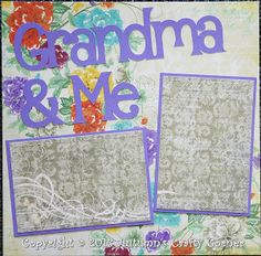 """Pre-Made Scrapbook Pages   ... """"Grandma & Me"""" Basic Premade Scrapbook Page 12x12 Layout for Album"""