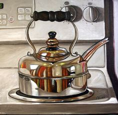 Vic Vicini: Kitchenware one of the most stunning examples of chrome I've seen in a drawing or painting in a long time. Still Life Drawing, Painting Still Life, Still Life Art, Hyper Realistic Paintings, Realistic Drawings, 3d Drawings, Reflection Art, Food Artists, Ap Studio Art