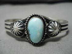 Indianerschmuck Important Vintage Navajo Martinex Royston Türkis Sterling Silber Armband Folkloreschmuck
