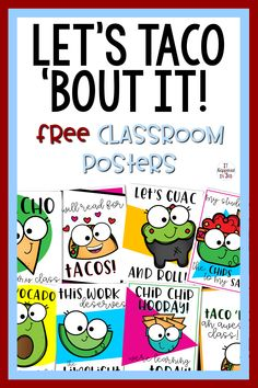 Let's Taco 'Bout It Taco Themed Motivational Posters FREEBIE - decorationdiyroom. First Grade Classroom, Classroom Posters, Future Classroom, Classroom Themes, Classroom Organization, Classroom Management, Book Bulletin Board, Back To School Bulletin Boards, Teacher Appreciation Luncheon