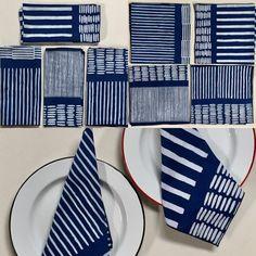 "Hand Stamp Batik Indigo Dyed Cotton Napkins from d-bali.com 21"" square  Sets of 4, 8, 12"