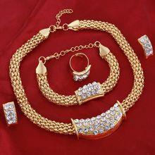 Mulheres Conjuntos De Jóias de Noiva de Ouro Delicado Pingente de Strass Colar Pulseira Brincos Anéis de Cristal Acessórios Do Casamento Por Atacado alishoppbrasil