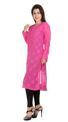 Sexy Pink Long tunic Indian Hand Embroidery  Lucknow Chikankari beach coverup /Kurtis/Top/Tunic/kurta  comfortable summer women/ladies/girls by Indiankala4u on Etsy