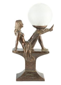 Art Deco Lighting Sitting Leaning Draped Lady Lamp