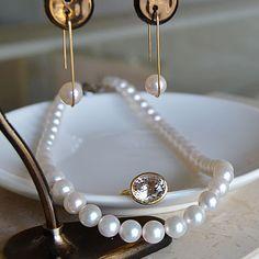 今日は K8YGパールピアス k18YGピンクダンブライトリング あこや真珠ネックレス を組み合わせてみました。