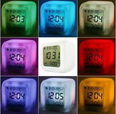 Home Decor | LED 7 Color Glowing Change Digital Glowing Alarm Thermometer Clock Cube – US $3.35