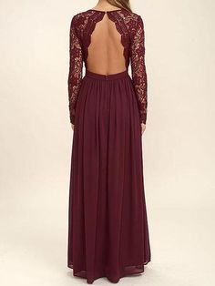 Dark Red Long Sleeve Lace Long Bridesmaid Dresses, Cheap Chiffon Custom Short Bridesmaid Dresses, Affordable Bridesmaid Gowns, BD101