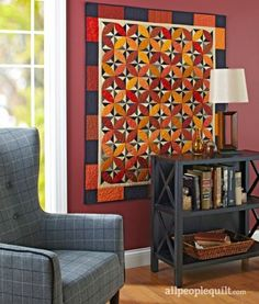 Feature rich colors and autumn motifs in quilts, wall hangings, and table toppers that are perfect for the fall season.