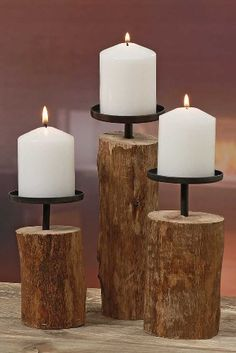 Rustikales Kerzenleuchter 3er Set Tempe Holz H 14-22 cm Kerzenständer Siehe mehr unter http://www.woonio.de/p/rustikales-kerzenleuchter-3er-set-tempe-holz-h-14-22-cm-kerzenstaender/