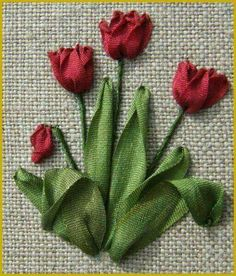 Wonderful Ribbon Embroidery Flowers by Hand Ideas. Enchanting Ribbon Embroidery Flowers by Hand Ideas. Brazilian Embroidery Stitches, Rose Embroidery, Cross Stitch Embroidery, Embroidery Patterns, Embroidery Needles, Ribbon Embroidery Tutorial, Silk Ribbon Embroidery, Ribbon Art, Ribbon Crafts