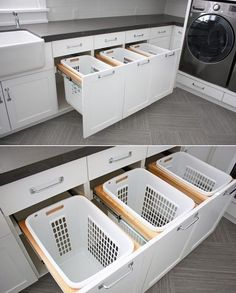 Hide those laundry baskets behind custom made cabinetry! Perfect laundry room idea!