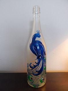 $25.00 Decorative Peacock Wine Bottle by rjkart4u on Etsy