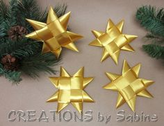 """Gold Stars Christmas Decoration Flat Ribbon Stars Set of 4 Star 6"""" Origami Table Decor Folded Decoration Froebel READY TO SHIP by CREATIONSbySabine"""