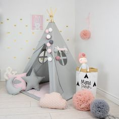 Teepee Set Kids Play Tent Tipi Kid Play Teepee Child Teepee Wigwam Zelt Tente KIDS lamp READING SPOT -Fig Princess