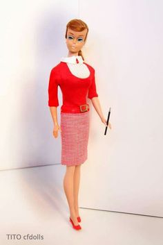 """Student Teacher"" 1965 modeled by a titian swirl ponytail Barbie."