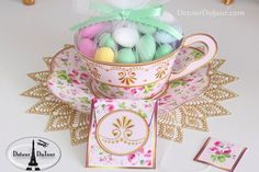 A gorgeous tea party theme calls for charming shabby chic details. These enchanting printable teacup wrappers can hold a cupcake, candy, or other small favors.