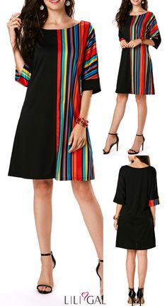 Print Three Quarter Sleeve Black Tunic Dress Stripe Print Three Quarter Sleeve Black Tunic Dress,Stripe Print Three Quarter Sleeve Black Tunic Dress, Платье Triko Bakh, Front Pocket Color Block Long Sleeve Mini A Line Dress . Black Tunic Dress, Black Dress With Sleeves, Striped Dress, Dress Outfits, Casual Dresses, Fashion Dresses, Tunic Dresses, Fashion Mode, Black Women Fashion