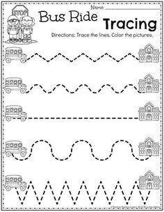 Back to School Themes Preschool Tracing Worksheets for Back to School Tracing Worksheets, Preschool Worksheets, Tracing Practice Preschool, Preschool Learning Activities, Preschool Classroom, Preschool Activities, Back To School Worksheets, Pre Writing, School Themes