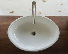 Oversized handmade ceramic basin – 65 cm across – mounted on custom walnut bathroom cabinet. Handmade Tiles, Handmade Ceramic, Sinks, Basin, Ceramics, Cabinet, Bathroom, Home Decor, Ceramica