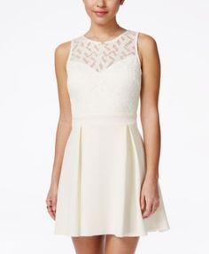 6901230a6 B Darlin Juniors' Sleeveless Lace A-Line Dress & Reviews - Dresses - Juniors  - Macy's