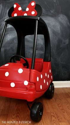 "Great idea for a little girl! Minnie Mouse Mobile (Minnie Bow-bile) transformed a Cozy Coupe! The ears were cut from 3/4"" scrap rubber.  They were screwed into the car on the underside of the roof. The bow is constructed from a piece of plexi glass that was painted. This was attached to the ears with a high adhesion waterproof glue."