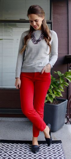 Jules in Flats - Work Outfit with Red Ankle Pants
