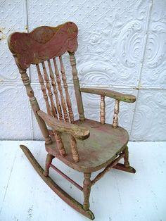 Pressed Back Childs Antique Rocking Chair In Old Shabby Chic Paint