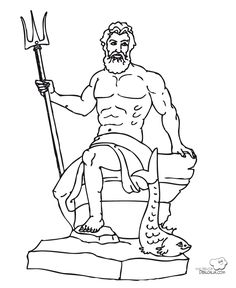 Dios griego para el corcho Roman Mythology, Greek Mythology, Hercule, Sea And Ocean, Greek Gods, Character Design References, Gods And Goddesses, Ancient Greece, Easy Drawings