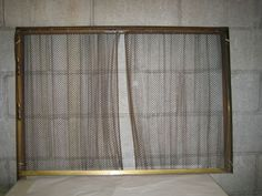 VTG Golden Brass Fireplace Screen W Metal Chain Mail Curtain U0026 Weighted  Pulleys US $64.95 In